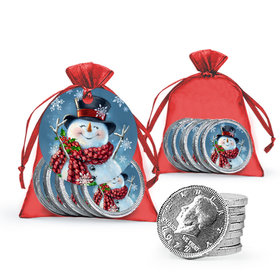 Christmas Jolly Snowman Chocolate Coins in XS Organza Bags with Gift Tag