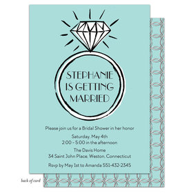 Bonnie Marcus Collection Personalized Bridal Shower Diamond Ring Blue Invitation