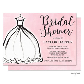 Bonnie Marcus Collection Personalized Silhouette Dress Bridal Shower Invitation - Pink