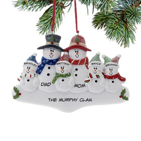 Holly Snowman Family of 6 Ornament