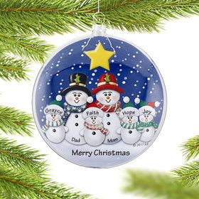 Glass Disc Snowman Family of 6 Ornament