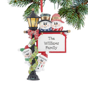 Lamppost Family of 4 Ornament