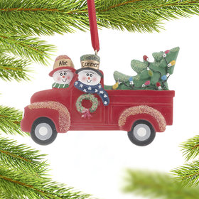 Vintage Red Truck Couple Ornament