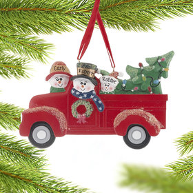 Vintage Red Truck Family of 3 Ornament
