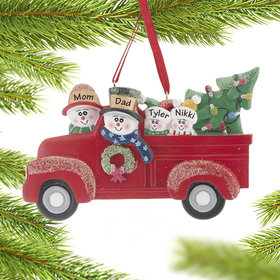 Vintage Red Truck Family of 4 Ornament