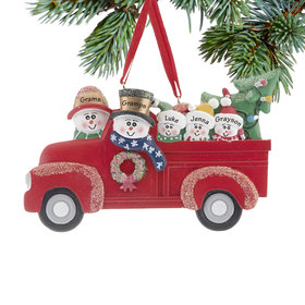 Vintage Red Truck Family of 5 Ornament