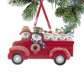 Vintage Red Truck Family of 6 Ornament