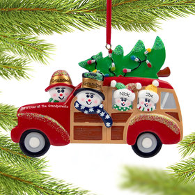 Personalized Grandparents and Grandkids in Station Wagon Christmas Ornament