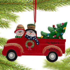 Personalized Snow Couple in Red Truck