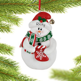Snowman with Stocking Ornament