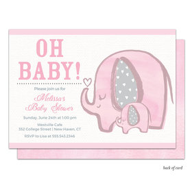 Bonnie Marcus Collection Personalized Baby Elephant Invitation - Pink