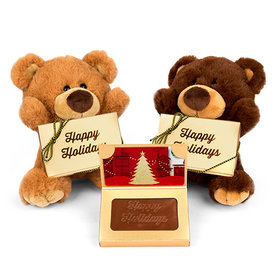 Teddy Bear with Embossed Happy Holidays Gift Card Box