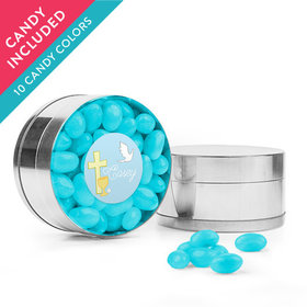 Personalized Boy First Communion Favor Assembled Small Round Plastic Tin with Just Candy Jelly Beans