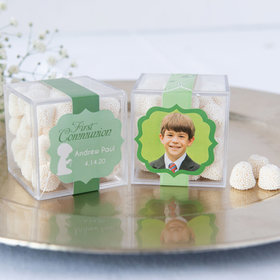 Personalized Boy First Communion JUST CANDY® favor cube with Jelly Belly Gumdrops