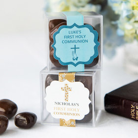 Personalized Boy First Communion JUST CANDY® favor cube with Premium Milk & Dark Chocolate Sea Salt Caramels