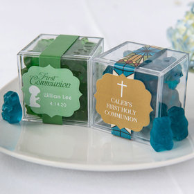 Personalized Boy First Communion JUST CANDY® favor cube with Gummy Bears