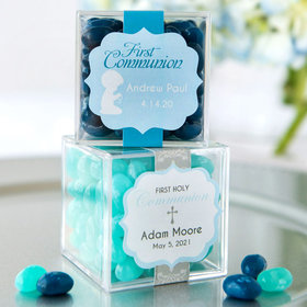 Personalized Boy First Communion JUST CANDY® favor cube with Jelly Belly Jelly Beans
