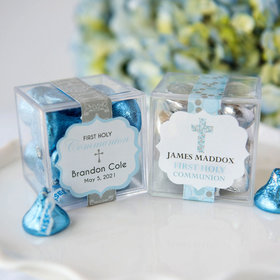 Personalized Boy First Communion JUST CANDY® favor cube with Hershey's Kisses