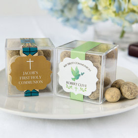 Personalized Boy First Communion JUST CANDY® favor cube with Premium Marshmallow S'mores - Milk Chocolate