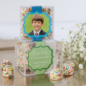 Personalized Boy First Communion JUST CANDY® favor cube with Rainbow Berries