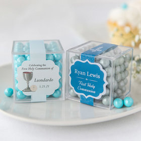 Personalized Boy First Communion JUST CANDY® favor cube with Sixlets Chocolate