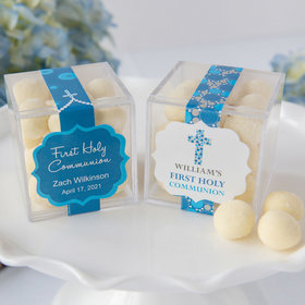Personalized Boy First Communion JUST CANDY® favor cube with Premium Sugar Cookie Bites