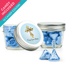 Personalized Boy First Communion Favor Assembled Small Mason Jar with Hershey's Kisses
