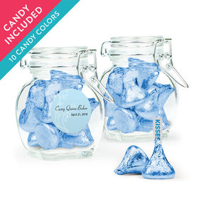 Personalized Boy First Communion Favor Assembled Swing Top Jar with Hershey's Kisses