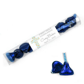 Personalized Boy First Communion Favor Assembled Clear Tube with Hershey's Kisses