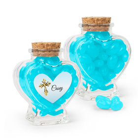 Personalized Boy First Communion Favor Assembled Heart Jar with Just Candy Jelly Beans