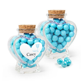 Personalized Boy First Communion Favor Assembled Heart Jar with Sixlets