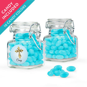 Personalized Boy First Communion Favor Assembled Swing Top Square Jar with Just Candy Jelly Beans