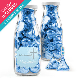 Personalized Boy First Communion Favor Assembled Milk Bottle Jar with Hershey's Kisses