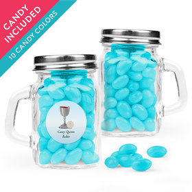 Personalized Boy First Communion Favor Assembled Mini Mason Mug with Just Candy Jelly Beans