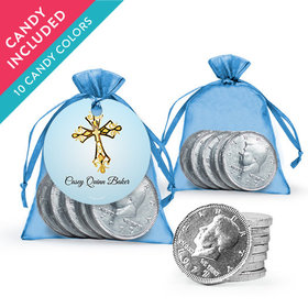 Personalized Boy First Communion Favor Assembled Organza Bag, Gift tag with Milk Chocolate Coins