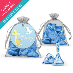 Personalized Boy First Communion Favor Assembled Organza Bag with Hershey's Kisses
