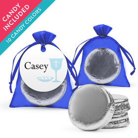 Personalized Boy First Communion Favor Assembled Organza Bag Hang tag with Chocolate Covered Oreo Cookie