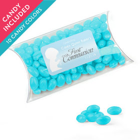 Personalized Boy First Communion Favor Assembled Pillow Box with Just Candy Jelly Beans