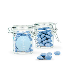Personalized Boy First Communion Favor Assembled Swing Top Round Jar with Just Candy Milk Chocolate Minis