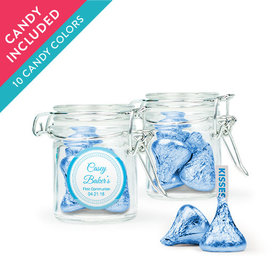 Personalized Boy First Communion Favor Assembled Swing Top Round Jar with Hershey's Kisses