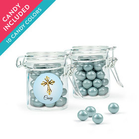 Personalized Boy First Communion Favor Assembled Swing Top Round Jar with Sixlets