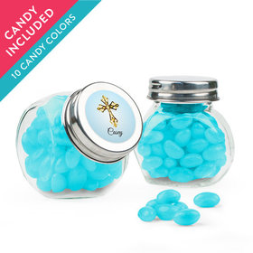 Personalized Boy First Communion Favor Assembled Mini Side Jar with Just Candy Jelly Beans