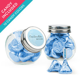 Personalized Boy First Communion Favor Assembled Mini Side Jar with Hershey's Kisses