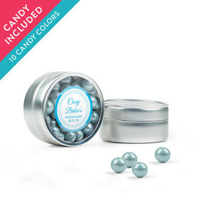 Personalized Boy First Communion Favor Assembled Mini Round Tin with Sixlets
