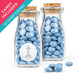 Personalized Boy First Communion Favor Assembled Glass Bottle with Cork Top with Just Candy Milk Chocolate Minis