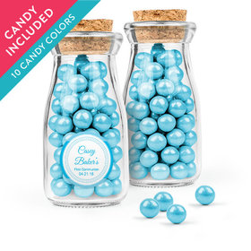 Personalized Boy First Communion Favor Assembled Glass Bottle with Cork Top with Sixlets