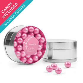 Personalized Girl First Communion Favor Assembled Small Round Plastic Tin with Sixlets