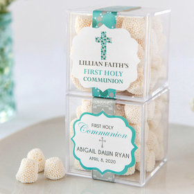 Personalized Girl First Communion JUST CANDY® favor cube with Jelly Belly Gumdrops