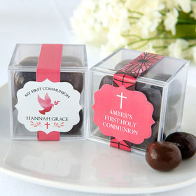 Personalized Girl First Communion JUST CANDY® favor cube with Premium Milk & Dark Chocolate Sea Salt Caramels