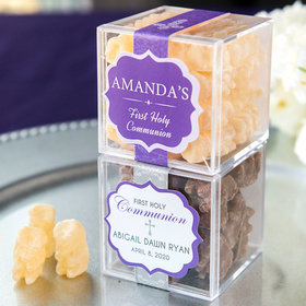 Personalized Girl First Communion JUST CANDY® favor cube with Premium Chocolate Covered Gummy Bears
